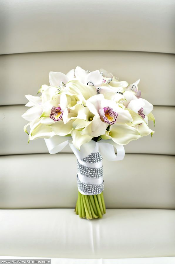 White Calla Lilies And Orchids Wedding Bouquet With Satin Ribbon Crystal Band South Florida